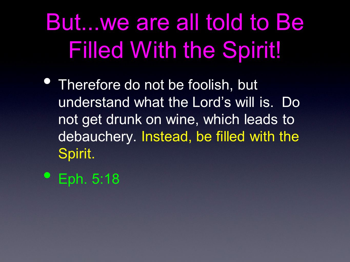 But...we are all told to Be Filled With the Spirit!