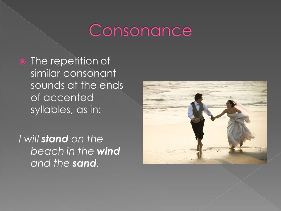 Consonance The repetition of similar consonant sounds at the ends of accented syllables, as in: I will stand on the beach in the wind and the sand.