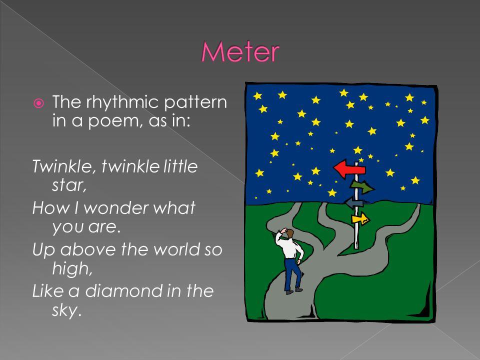 Meter The rhythmic pattern in a poem, as in: