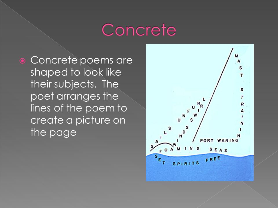 Concrete Concrete poems are shaped to look like their subjects.