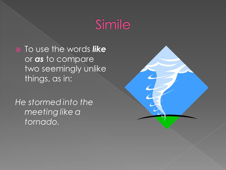 Simile To use the words like or as to compare two seemingly unlike things, as in: He stormed into the meeting like a tornado.