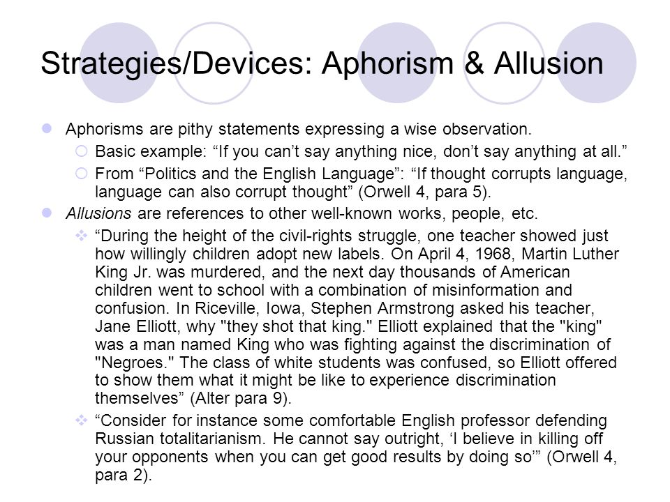 Strategies/Devices: Aphorism & Allusion