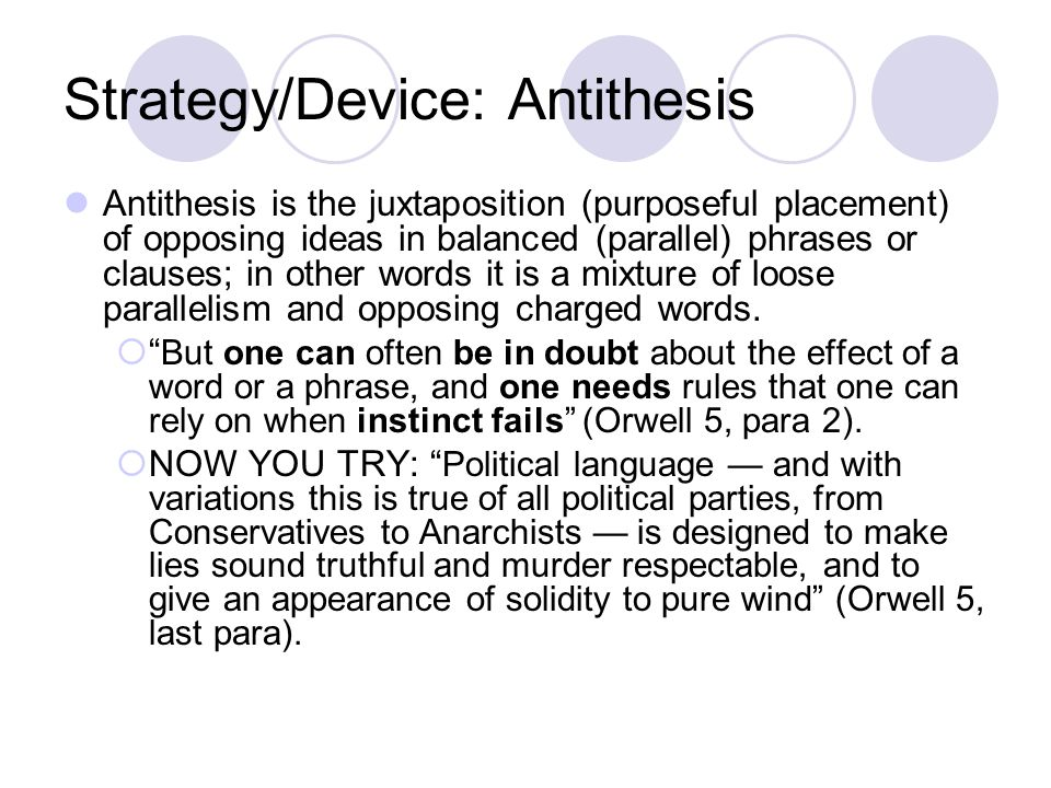 Strategy/Device: Antithesis