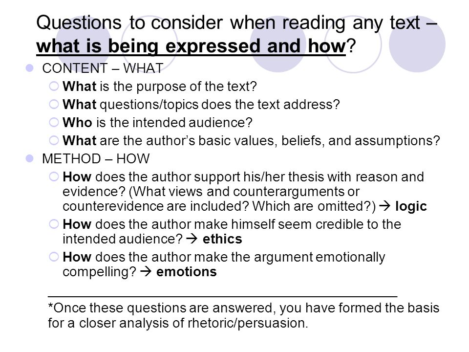 Questions to consider when reading any text – what is being expressed and how