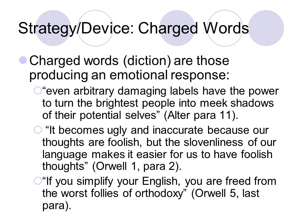 Strategy/Device: Charged Words