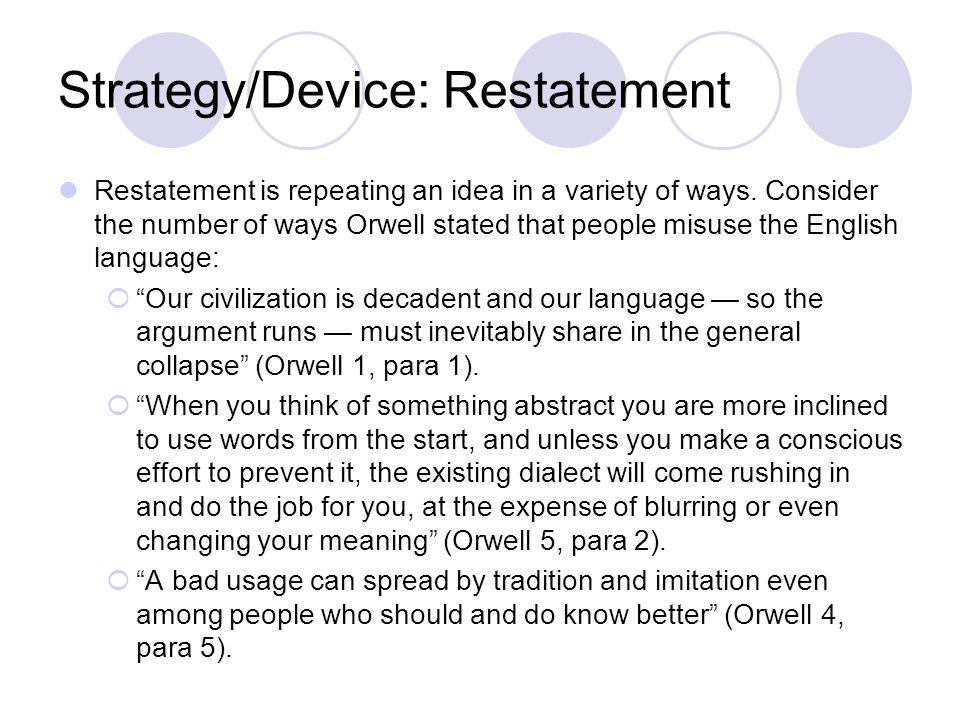 Strategy/Device: Restatement