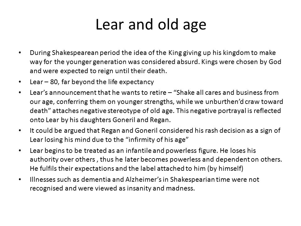 Lear and old age