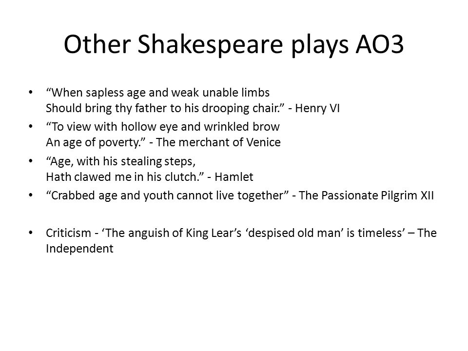Other Shakespeare plays AO3