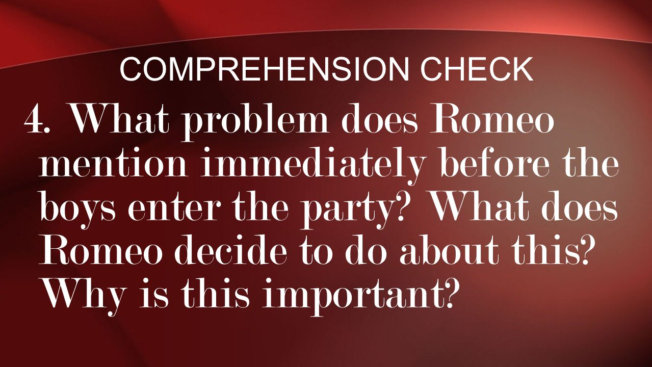 Comprehension Check