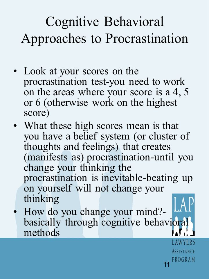Cognitive Behavioral Approaches to Procrastination