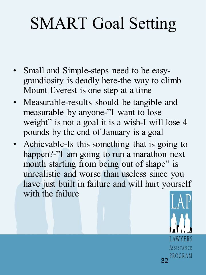 SMART Goal Setting Small and Simple-steps need to be easy-grandiosity is deadly here-the way to climb Mount Everest is one step at a time.