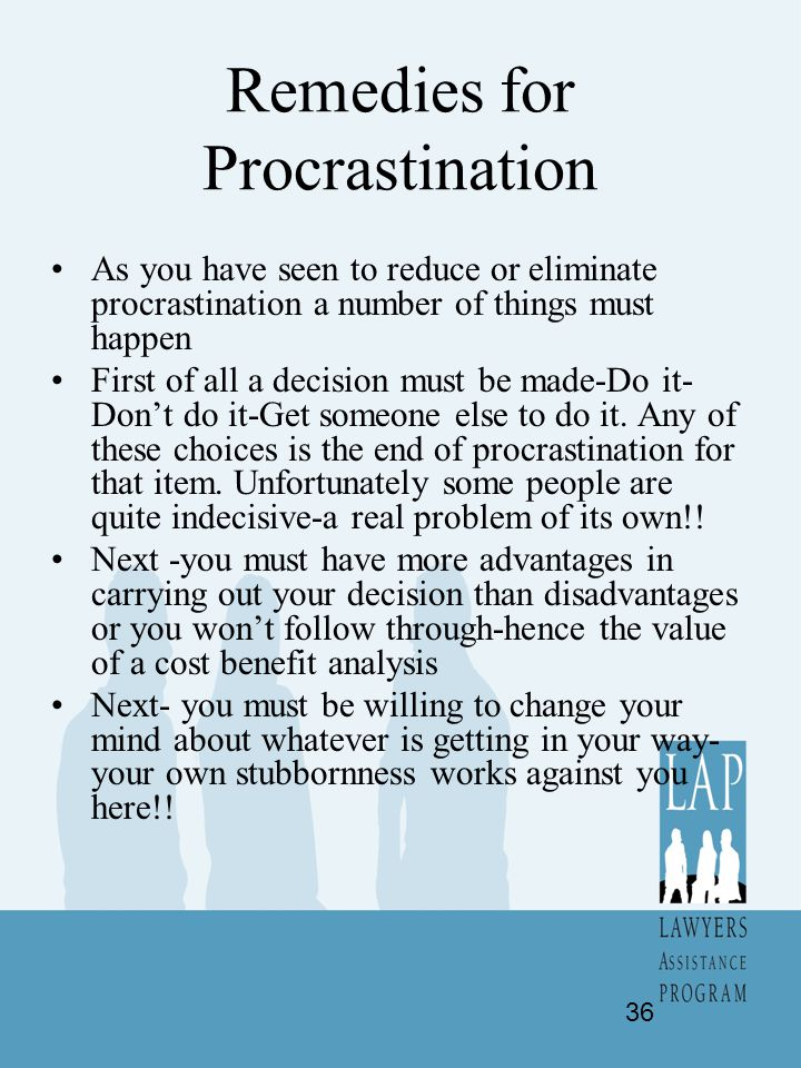 Remedies for Procrastination