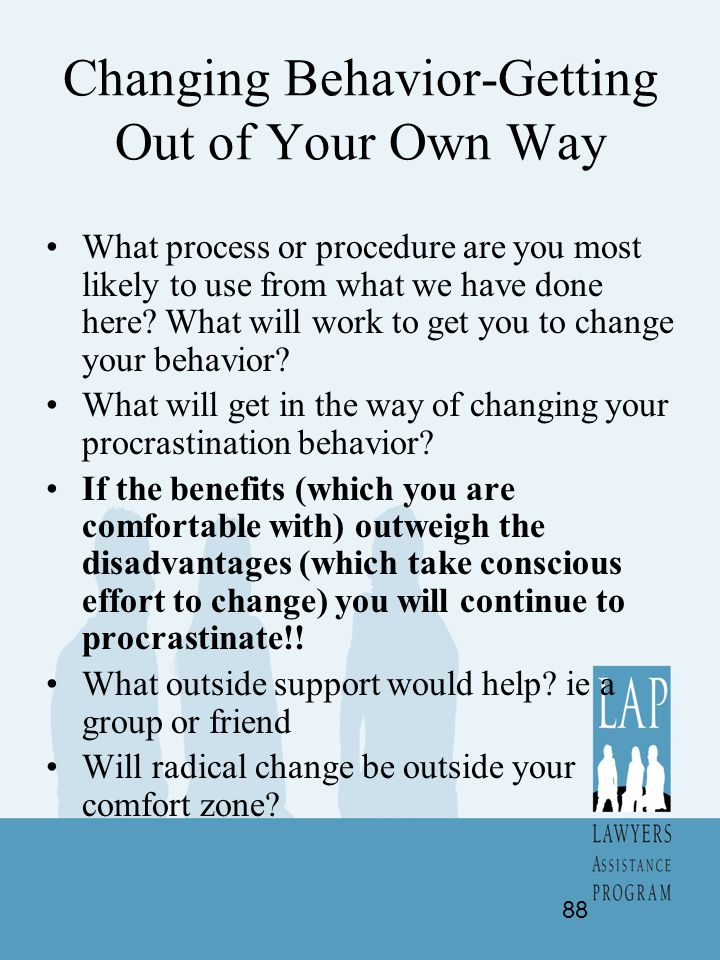 Changing Behavior-Getting Out of Your Own Way