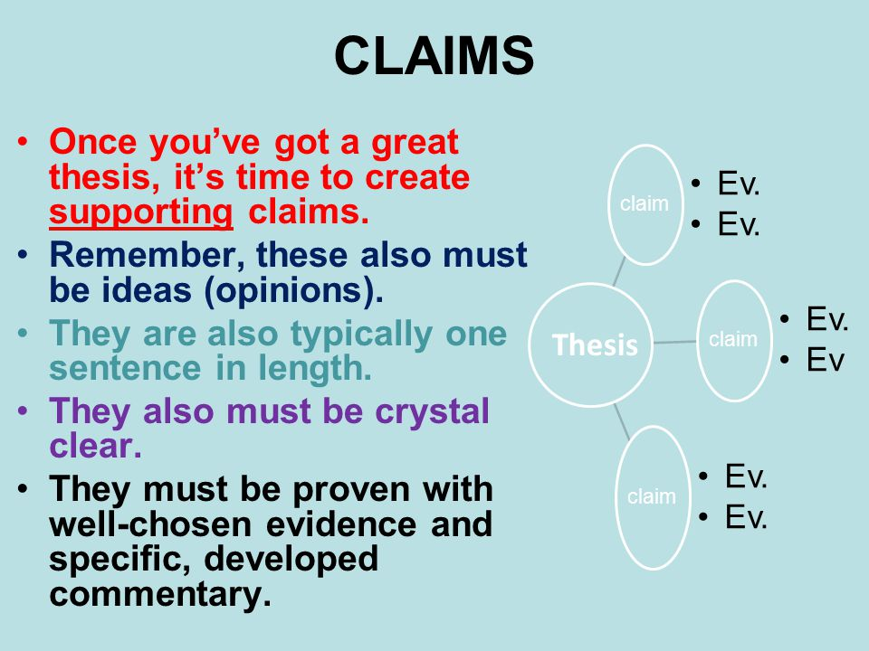 CLAIMS Once you've got a great thesis, it's time to create supporting claims. Remember, these also must be ideas (opinions).