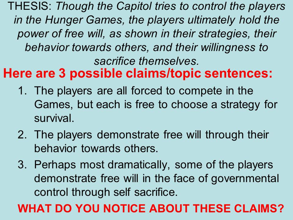 Here are 3 possible claims/topic sentences: