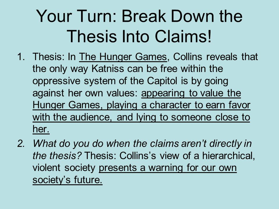 Your Turn: Break Down the Thesis Into Claims!
