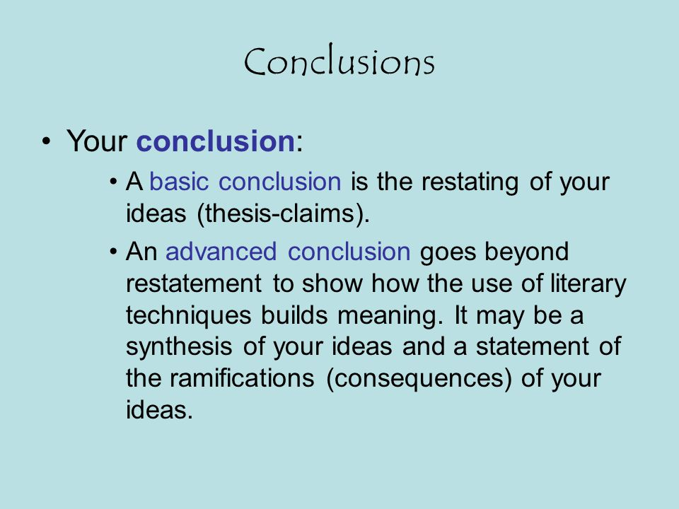 Conclusions Your conclusion: