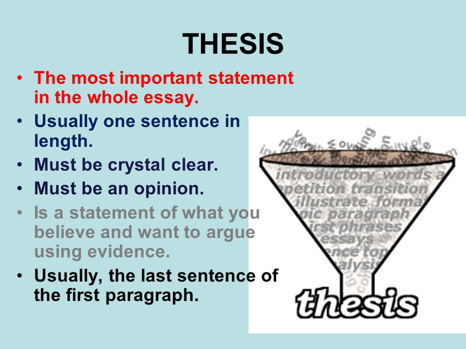 THESIS The most important statement in the whole essay.