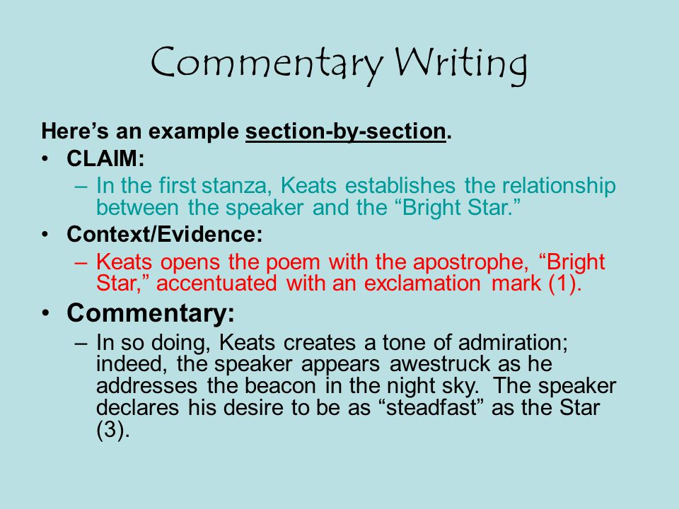 Commentary Writing Commentary: Here's an example section-by-section.