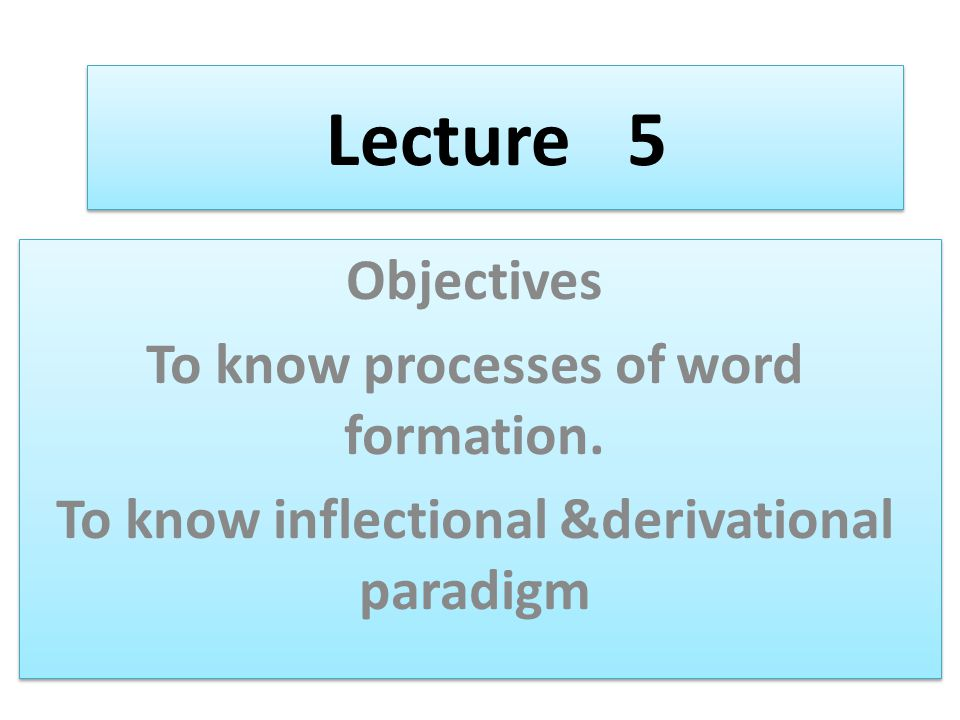 Lecture 5 Objectives To know processes of word formation.