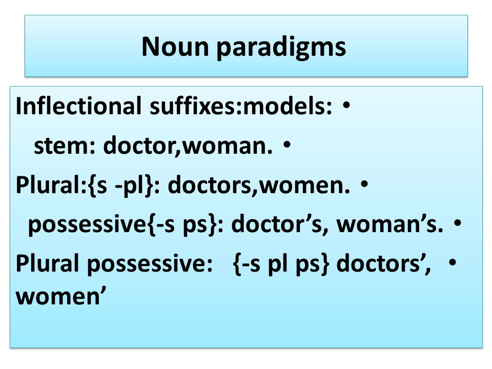 Noun paradigms Inflectional suffixes:models: stem: doctor,woman.