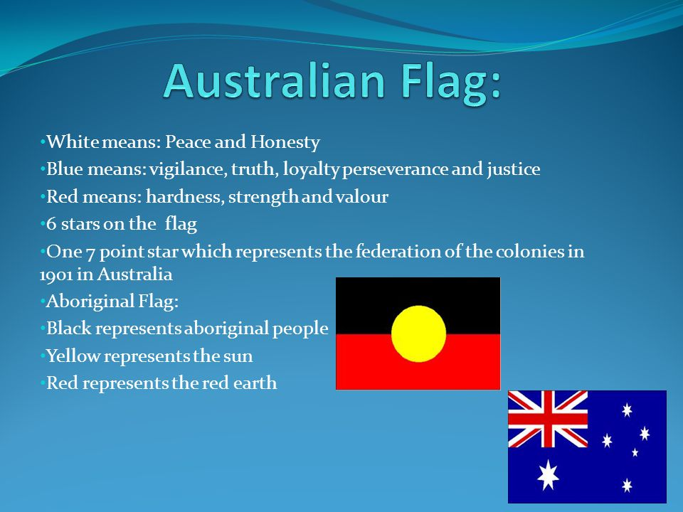 Australian Flag: White means: Peace and Honesty