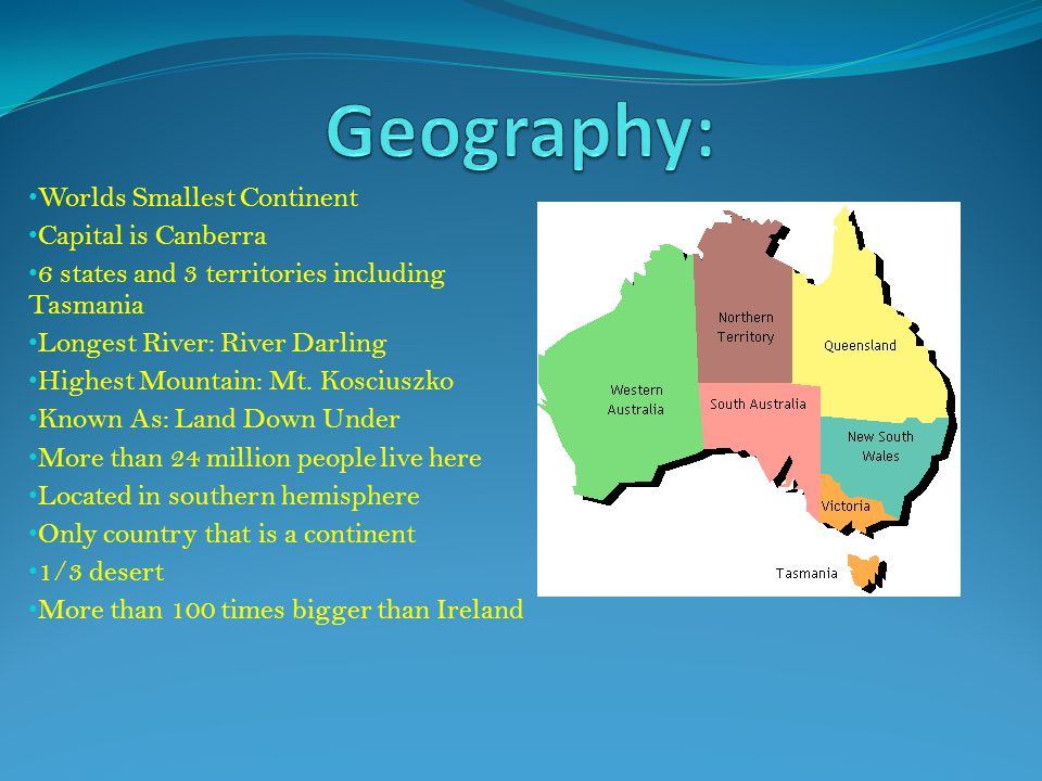 Geography: Worlds Smallest Continent Capital is Canberra