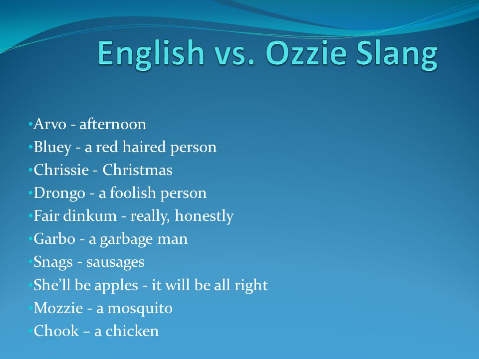 English vs. Ozzie Slang Arvo - afternoon Bluey - a red haired person