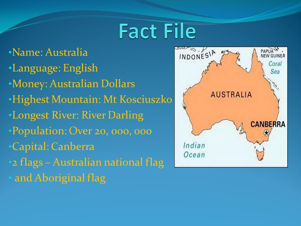 Fact File Name: Australia Language: English Money: Australian Dollars