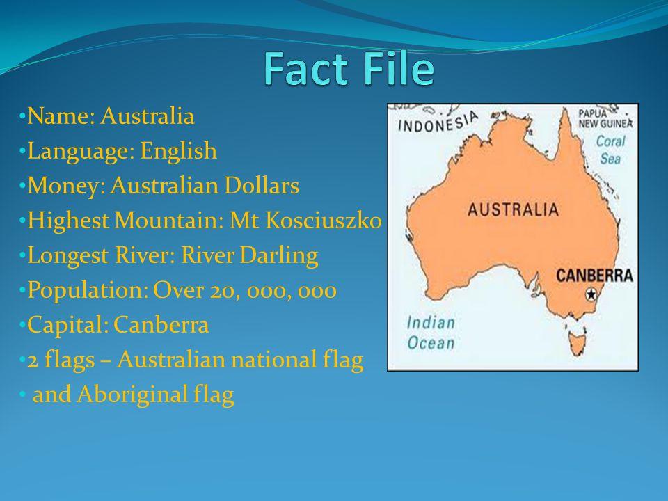 Fact File Name: Australia Language: English Money: Australian Dollars