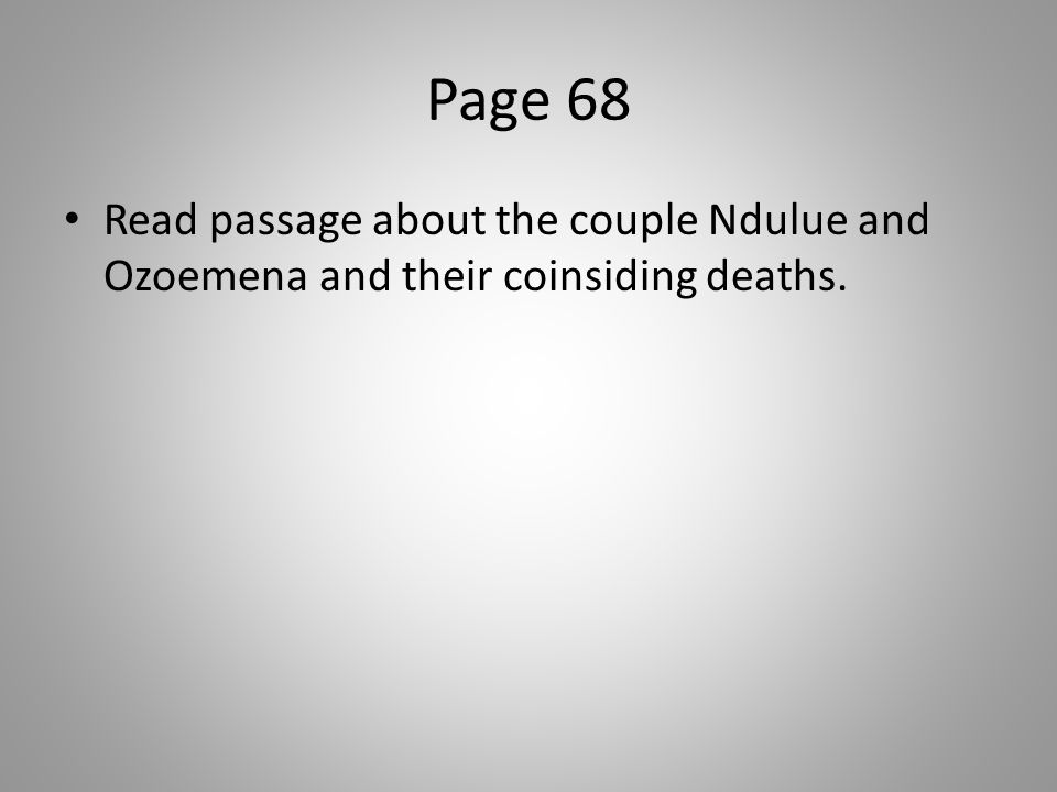Page 68 Read passage about the couple Ndulue and Ozoemena and their coinsiding deaths.