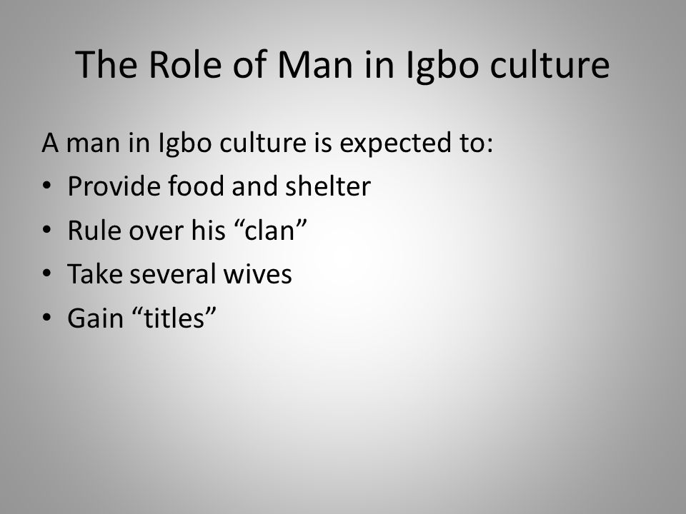 The Role of Man in Igbo culture