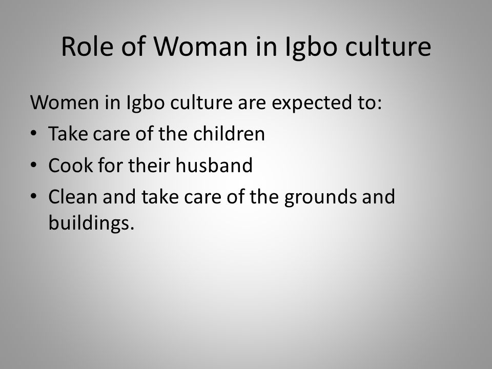 role of women in things fall Women are responsible for many things in the igbo culture their duties are nearly identical to men but they also include housekeeping, farming, bearing and raising children, washing clothes, and .