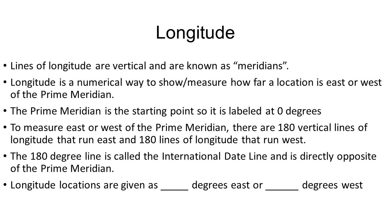 Longitude Lines of longitude are vertical and are known as meridians .