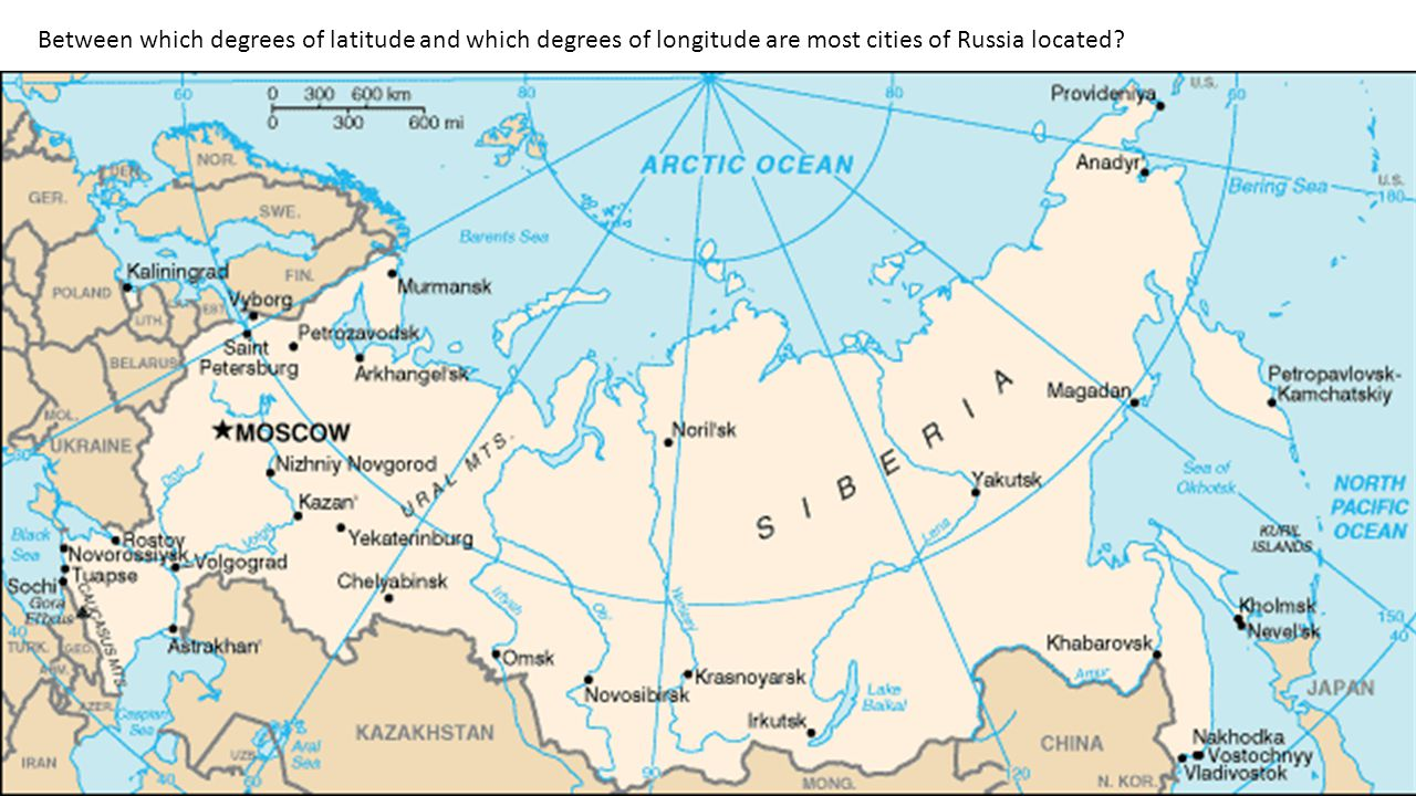 Between which degrees of latitude and which degrees of longitude are most cities of Russia located