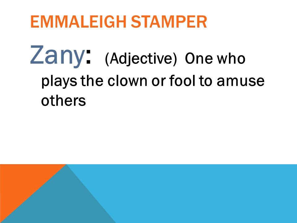 Zany: (Adjective) One who plays the clown or fool to amuse others