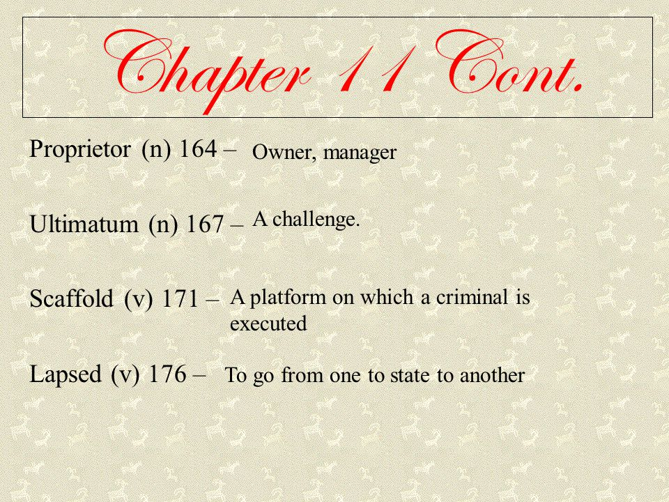 Chapter 11 Cont. Proprietor (n) 164 – Ultimatum (n) 167 –