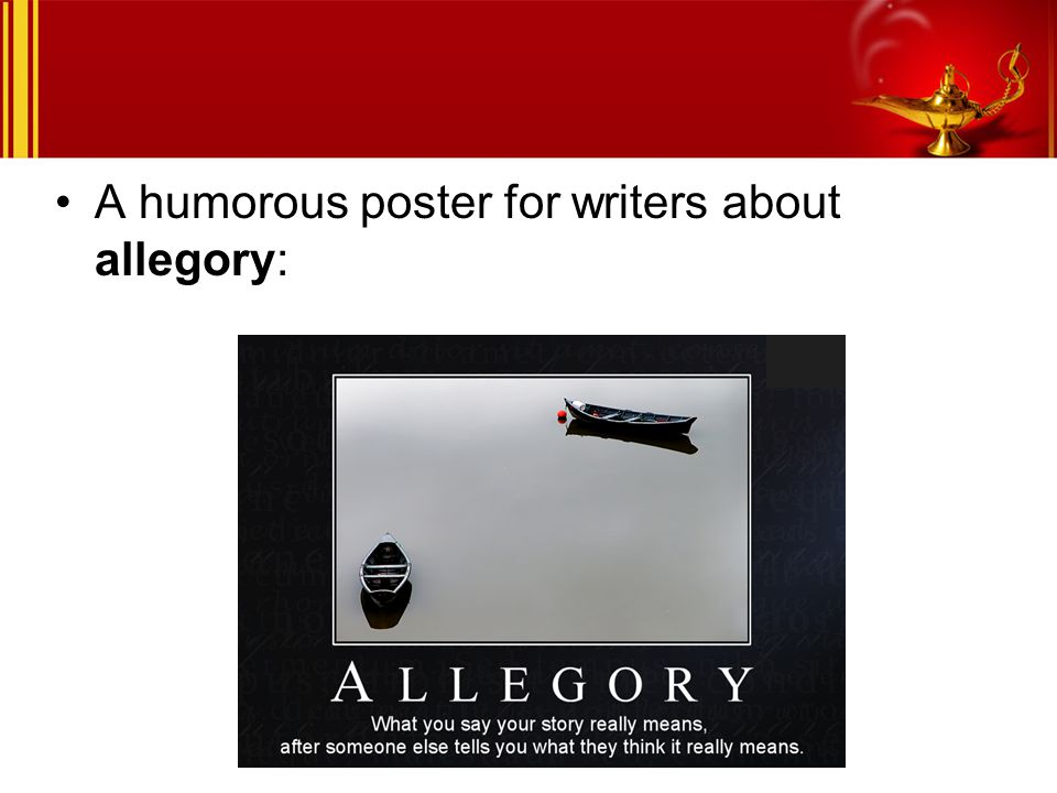 A humorous poster for writers about allegory: