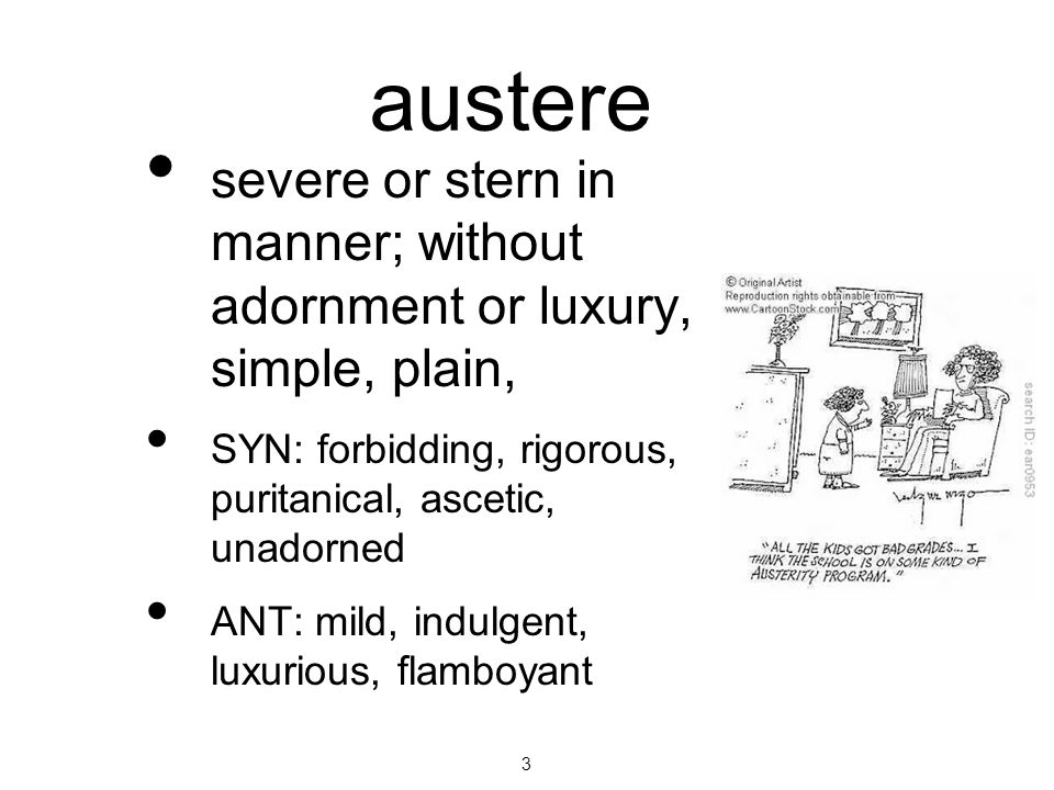 austere severe or stern in manner; without adornment or luxury, simple, plain, SYN: forbidding, rigorous, puritanical, ascetic, unadorned.
