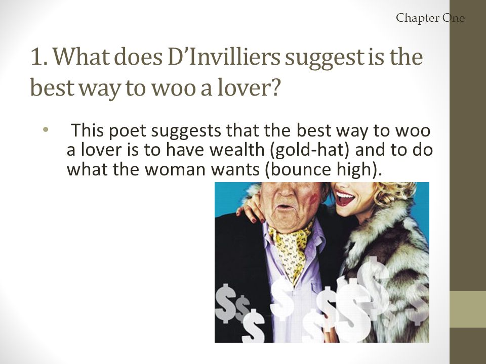 1. What does D'Invilliers suggest is the best way to woo a lover