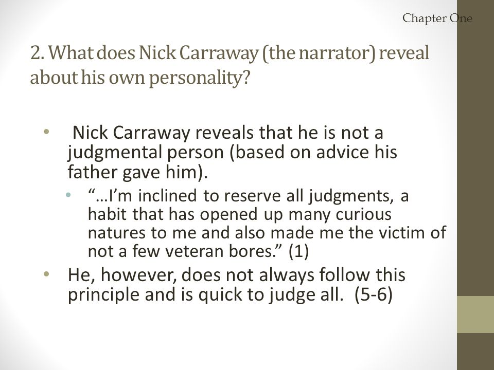 nick carraway judgmental essay Free essay nick carraway as narrator papers, essays, and research papers.
