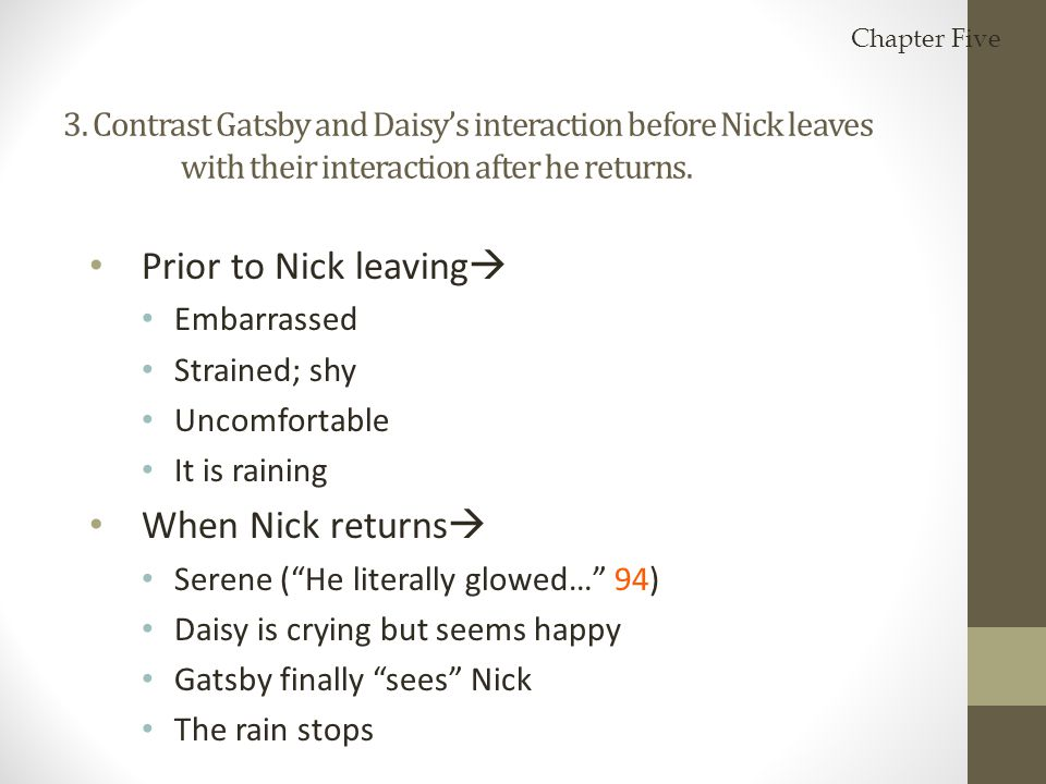 Prior to Nick leaving When Nick returns