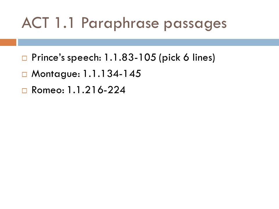 ACT 1.1 Paraphrase passages