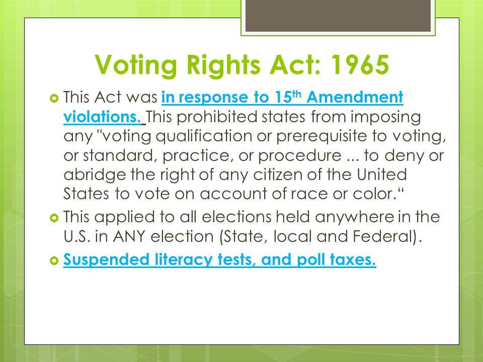 Voting Rights Act: 1965