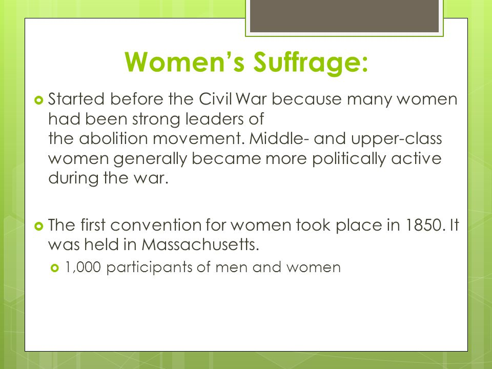 Women's Suffrage: