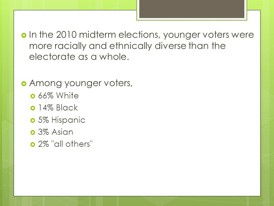 In the 2010 midterm elections, younger voters were more racially and ethnically diverse than the electorate as a whole.