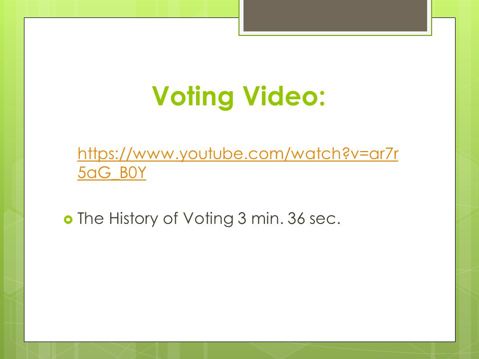 Voting Video: https://www.youtube.com/watch v=ar7r5aG_B0Y