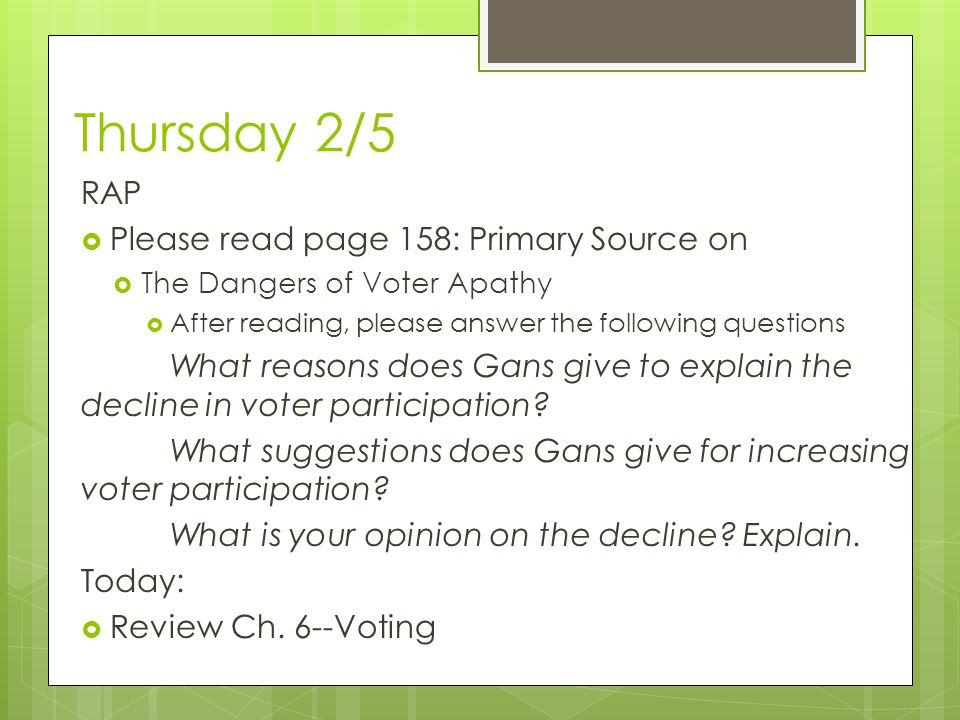 Thursday 2/5 RAP Please read page 158: Primary Source on