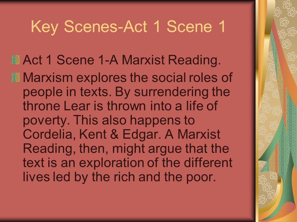 Key Scenes-Act 1 Scene 1 Act 1 Scene 1-A Marxist Reading.