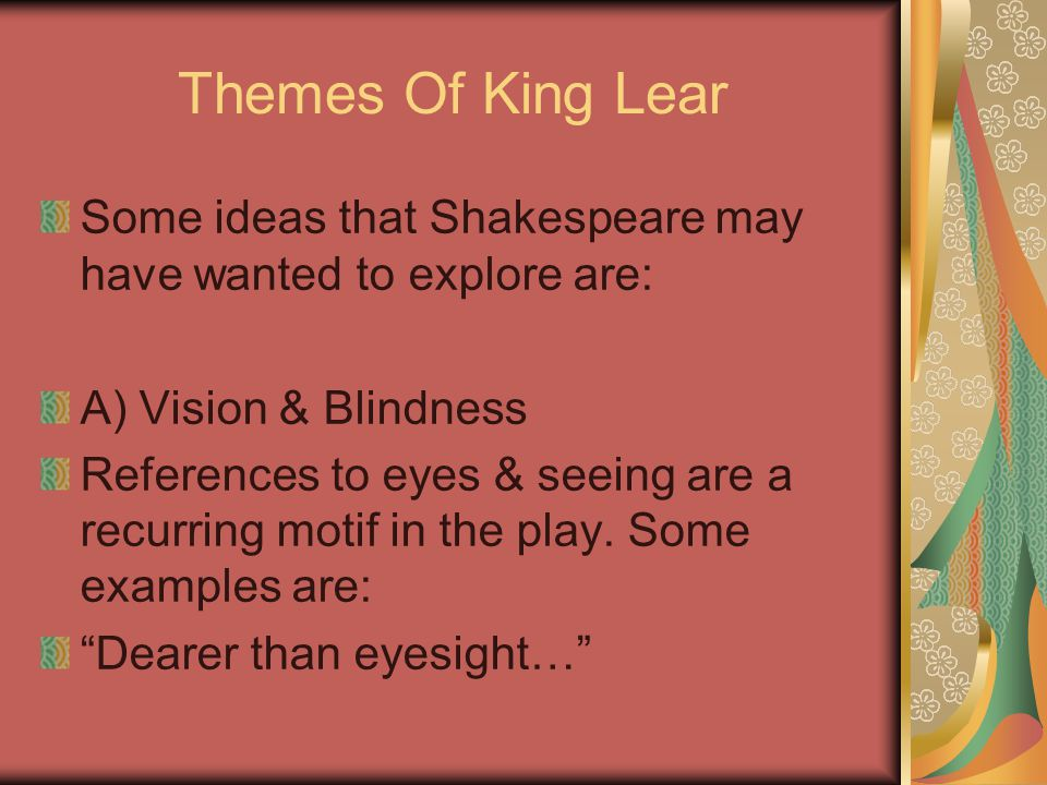 An analysis of the issue of sight in william shakespeares king lear